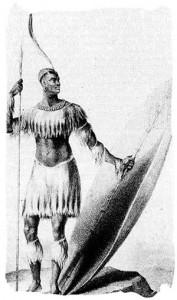 Le seul dessin connu de Shaka avec la sagaie et le bouclier lourds en 1824, quatre ans avant sa mort