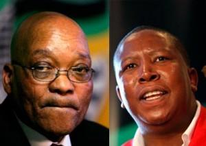 Jacob Zuma président de l'Afrique du Sud et Julius Malema chef de jeunes de l'ANC