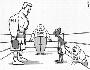 Caricature sur le FMI et l'OMC