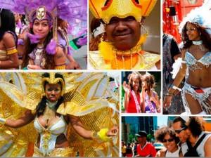 """La Carifête communément appelée le """"jump up"""" est une fête tout en couleurs et en musiques qui rappellent l'ambiance des Caraïbes une fois l'an à Montréal, ville multiethnique canadienne. Un défilé présente la diversité culturelle des pays d'origine de nombreux Néo-Montréalais."""