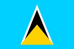 Les significations du drapeau sont multiples. Le bleu azur représente la fidélité, mais également la couleur du ciel tropical ou celle de la mer des Caraïbes. Les deux triangles évoquent les deux Pitons de Sainte-Lucie, qui émergent de la mer en direction du ciel, et par extension l'espoir et l'aspiration du peuple. Le Petit Piton est couleur d'or, couleur du soleil et de la prospérité ; le Gros Piton est composé de noir et de blanc, pour symboliser les deux influences historiques qui ne forme désormais plus qu'une seule culture. On constate que l'influence africaine prédomine sur l'influence européenne.