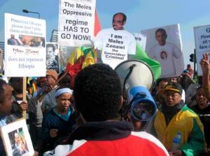 Manifestion contre Meles Zenawi à Londres