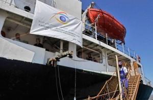 Le navire Amalthéa, dans le port de Lavrio, à 60 km au sud-est d'Athènes en Grèce, le 9 juillet 2010