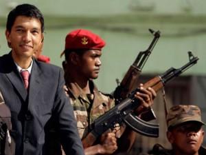 Andry Nirina Rajoelina est né le 30 mai 1974 au sein d'une ancienne famille de la noblesse d'Ambohimalaza, de l'ethnie merina  de Madagascar. Son père, le colonel Roger Yves Rajoelina était officier de l'armée française, puis de l'armée malgache après l'indépendance. Son succès débute par l'animation des soirées pour les jeunes de son lycée. Il échoue à son baccalauréat et finit par arrêter les études.