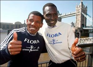 Haile Gebreselassie et le Kenyen Paul Tergat