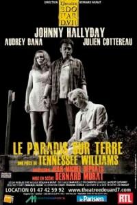 L'affiche de Un Paradis sur Terre mettant en vedette Johnny Hallyday dans la peau d'un Noir