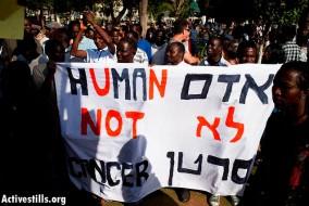 Une protestation des réfugiés africains pour les droits de l'homme à Tel-Aviv, Israël, le 10 juin 2012.
