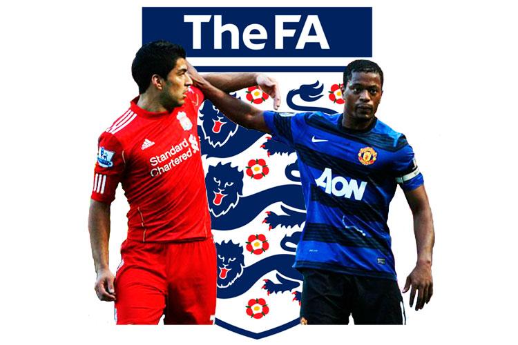 Dans un rapport de 115 pages, la FA a déterminé que Luis Suares (gauche) a dit à Patrice Evra « Je ne parle pas aux Noirs » et utilisé le mot nègre au moins cinq fois envers son opposant.