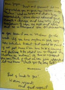 Lettre de Madonna à la présidente du Malawi, Mme Joyce Banda.