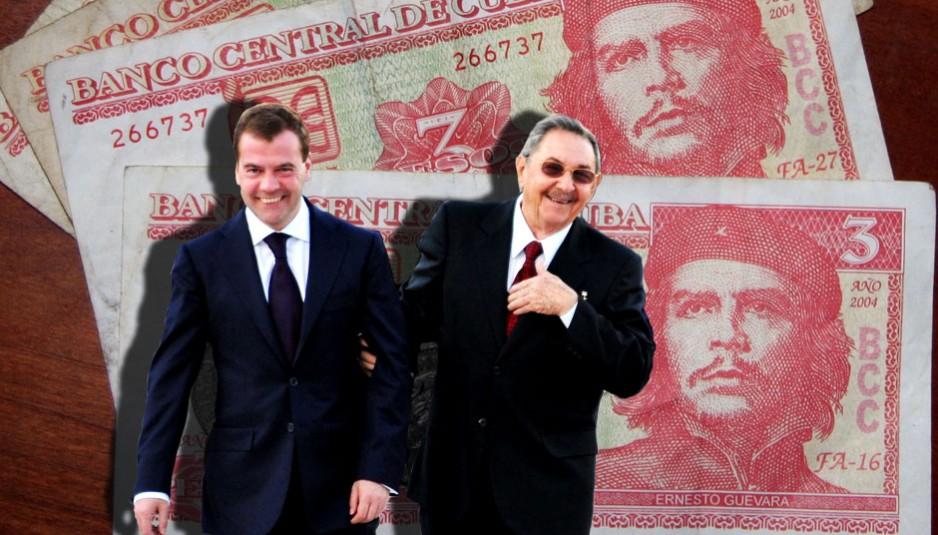 Les Russes coûte que coûte désirent conserver leur relation stratégique avec Cuba. Dmitri Medvedev et Raul Castro à La Havane.