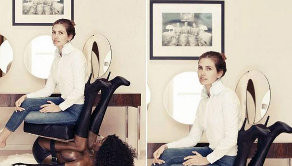 L'image l'éditrice en chef, perchée de tout son poids, dominante sur une femme Noire servile qui ne porte que des gants, des bas et un porte-jarretelles, seins compressés contre ses jambes et lui servant de chaise, à suscité l'indignation et une flopée de commentaires critiques dès sa mise en ligne.