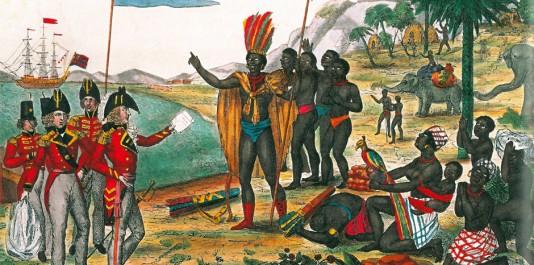 Lithographie de 1815 conservée à la Bibliothèqe nationale de France légendée en français et en anglais à l'occasion du congrès de Vienne. On peut lire, en français : « Les Anglais faisans part aux Africains du Traité de paix des puissances alliées du 20 octobre 1815 sur l'abolition de la traite des noirs »