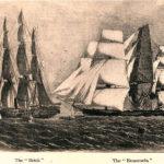 Capture d'un navire négrier, le Emanuela, par un bâtiment de la Royal Navy, le HMS Brisk.