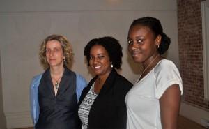 De gauche à droite, Annick Landreville, conseillère aux Affaires Publiques pour le consulat général des Etats-Unis - Karine Bassette, fondatrice NETSO Media - Vanessa Afuntuki, coordonatrice com & déceloppement, NETSO Media