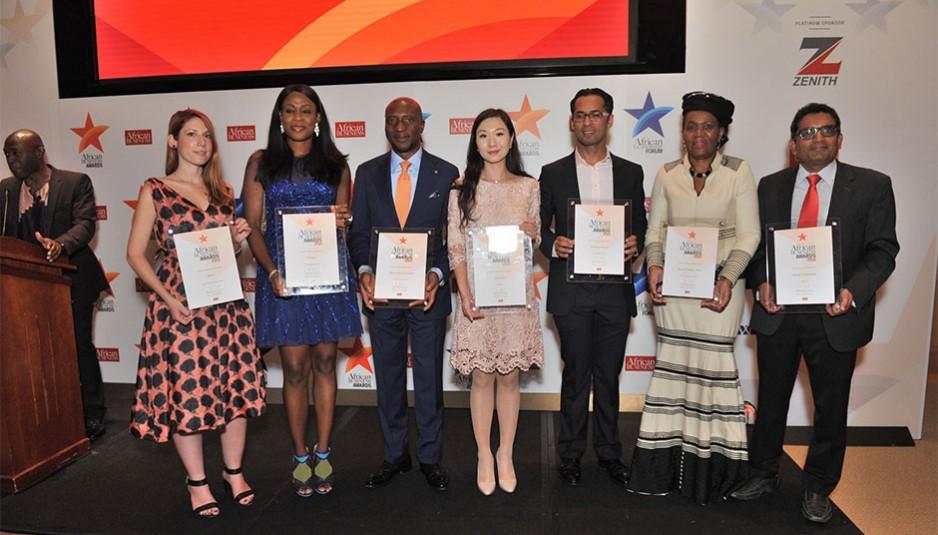 Les lauréats des Trophées African Business Awards 2015. (De gauche à droite) Katerina Kyrili (BIMA), Oyinade Ogunade (GT Bank), Oscar Onyema (Nigerian Stock Exchange), Helen Hai, (Made in Africa Initiative) Mohammed Dewji (MeTL), Daphne Mashile Nkosi (Kalagadi Manganese), Arun Menon, Abellon.