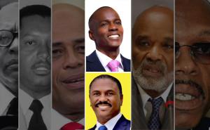 En centre, en haut Jovenel Moïse, le candidat soutenu par le pouvoir en place récolta 32,8% du vote lors du premier tour de l'élection présidentielle haïtienne tenu le 25 octobre 2015 tandis qu'en bas se retrouve Jude Célestin, affermi par l'ex-Président René Préval, qui lui amassa 25,2% du scrutin. L'un d'eux sera élu Président d'Haïti lors du second tour, le 27 décembre 2015.