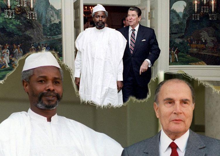 Hissène Habré et le Président américain Ronald Reagan et le Président français François Mitterrand