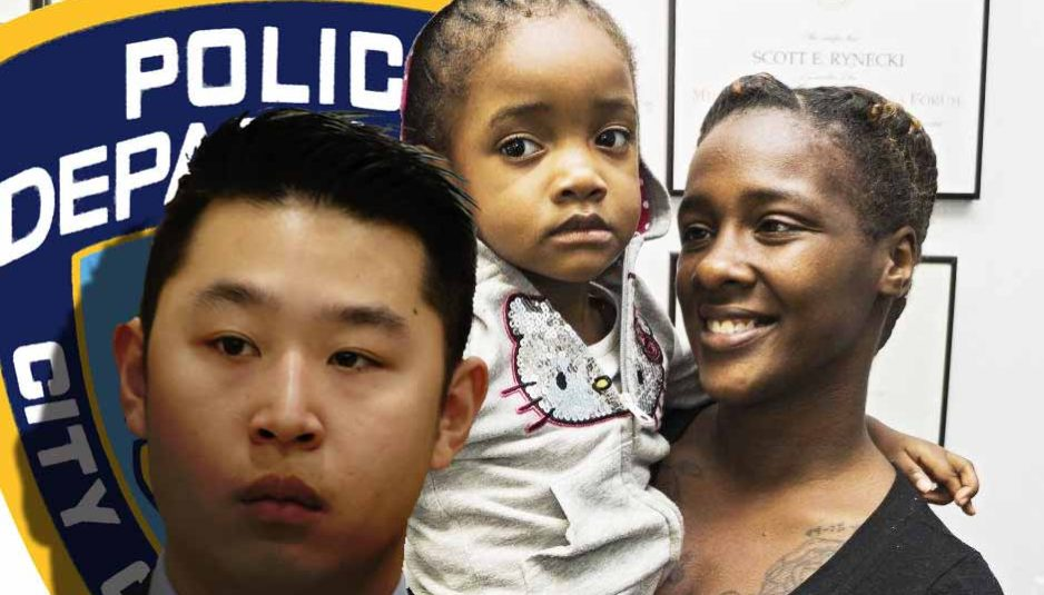 L'ex-agent de police Peter Liang du NYPD et Kimberly Ballinger avec sa jeune fille.