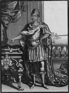 Le roi d'Essenie, au 18e siècle à Paris où il reçu le baptême, apprit les coutumes du pays, avant de retourner en Afrique, pour régner sur son peuple.