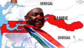 Exilé, le 19 janvier 2017, Adama Barrow prête serment pour sa présidence à l'ambassade de Gambie à Dakar au Sénégal.