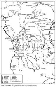 Carte d'orientation de l'Afrique centrale vers 1500 (carte J. Vansina). Aucune mention des de la population Mbochis.