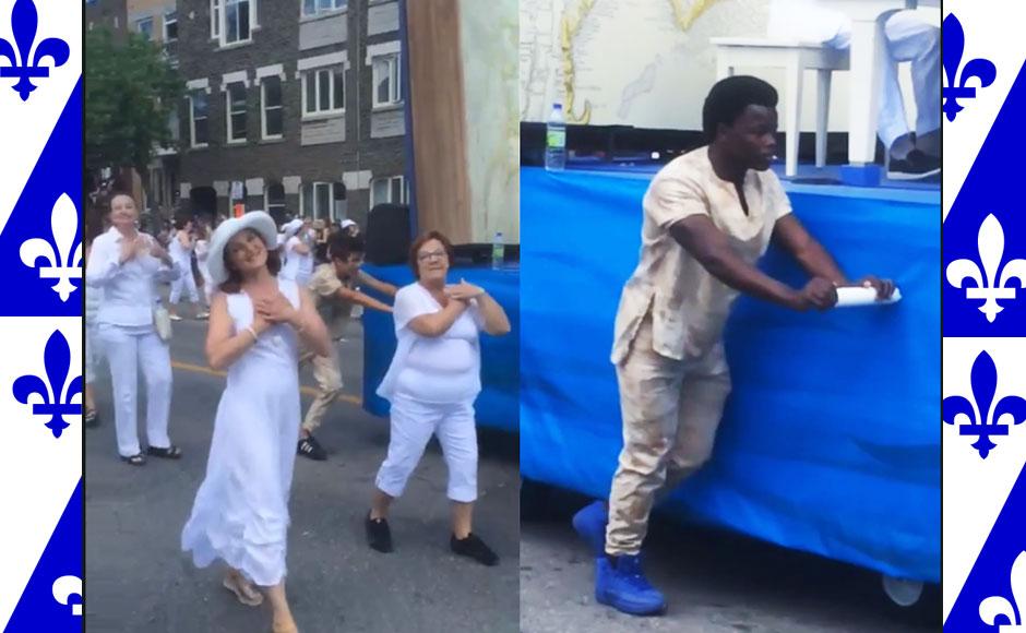 Défilé de la Saint-Jean Baptiste, le 24 juin 2017 sur la rue Saint-Denis à Montréal