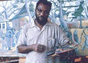 Ben Enwonwu dans son atelier d'art à Ikoyi, banlieue de Lagos, Nigeria