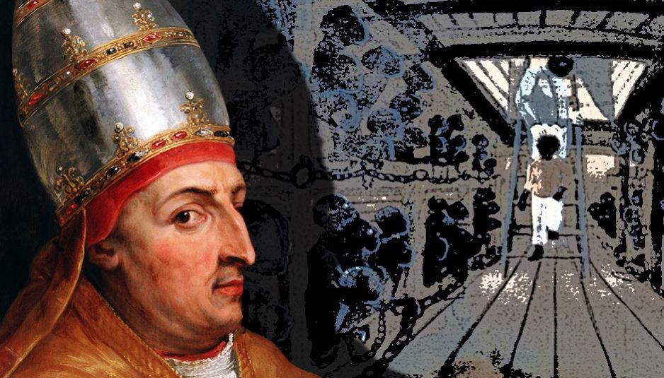 """Le 8 janvier 1454, le Pape Nicolas V, Tommaso Parentucelli (1398 - 1455), autorisa l'esclavage. C'est la sinistre journée où le Vatican déclara la guerre sainte contre l'Afrique dans sa bulle papale """"Romanus Pontifex"""". Par cette bulle, le pape Nicolas V concédait au roi du Portugal Afonso V et au Prince Henry ainsi qu'à tous leurs successeurs, toutes les conquêtes en Afrique en y réduisant en servitude perpétuelle toutes les personnes, considérées comme infidèles et ennemies du Christ, et en s'appropriant tous leurs biens et royaumes."""