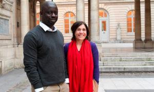 Bénédicte Savoy et l'écrivain sénégalais Felwine Sarr
